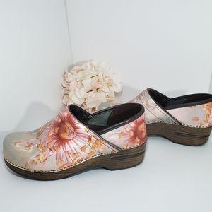 Dansko Floral Leather Pro Comfort Clogs 38, 7.5-8